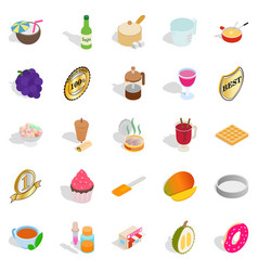 Dessert icons set isometric style vector