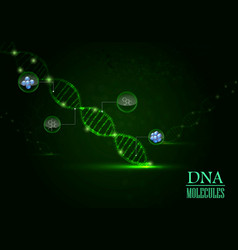 Dna concept on green light background vector