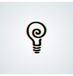Doodle lamp logo with 3d green-red effect vector image