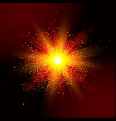 Explosion light star explosion red glow vector