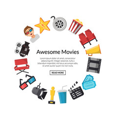 flat cinema icons in circle vector image
