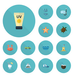 flat icons cocos drink car and other vector image