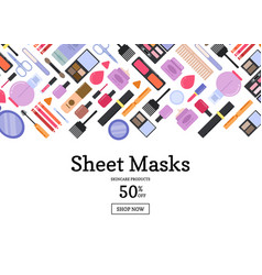 flat style different makeup and skincare vector image