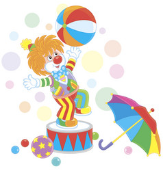 Funny red clown playing a big color ball vector