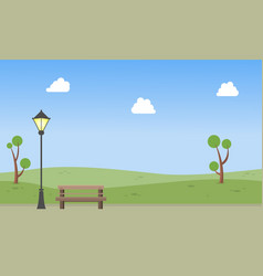 garden with chair and street lamp landscape vector image