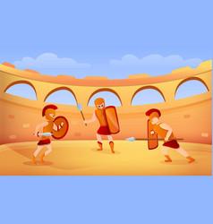 Gladiator concept banner cartoon style vector