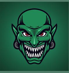 goblin head mascot logo design vector image