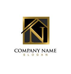 Gold letter n house logo vector