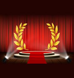 Golden laurel wreath on podium vector
