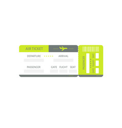 green plane ticket icon travel tourism vector image