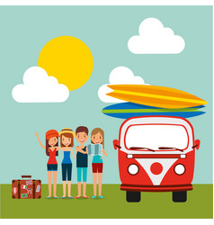 Group tourists baggage and retro van surfing vector