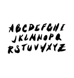 hand drawn brush ink abc letters set textured vector image
