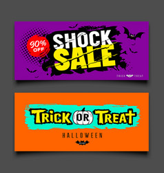 happy halloween sale colorful banners design set vector image
