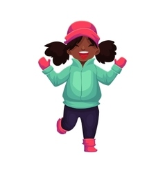 Happy little black skinned girl in winter clothes vector image