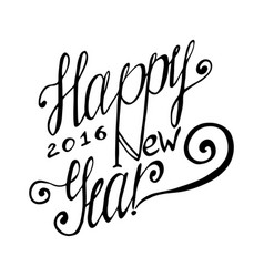 Happy new year hand lettering card handmade vector