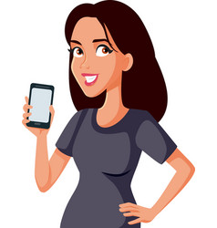 Happy smiling woman showing a smartphone vector