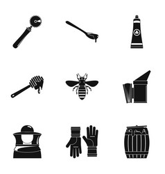 Honey business plan icons set simple style vector