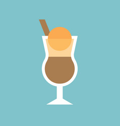Ice cream float in coffee flat icon vector