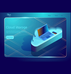 isometric cloud data storage and backup vector image