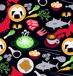 Japanese food seamless pattern vector
