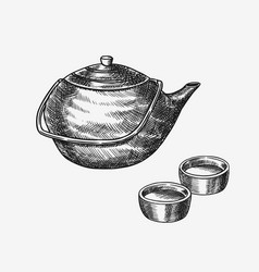 japanese tea party teapot and traditional bowls vector image
