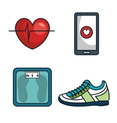 Kit elements sport gym design vector