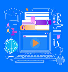 laptop with webinar player education stuff icons vector image