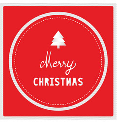 merry christmas with christmas tree on red vector image