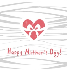 Mothers day greeting card with a heart vector