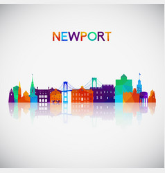 Newport skyline silhouette in colorful geometric vector