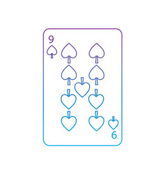 nine of spades french playing cards related icon vector image