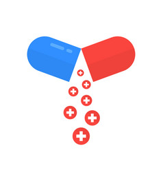 open pill like health care metaphor vector image