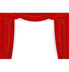 Open red curtains vector