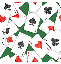 playing cards on green table seamless pattern vector image