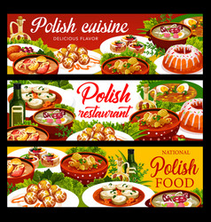Polish cuisine food banners lunch dinner dishes vector