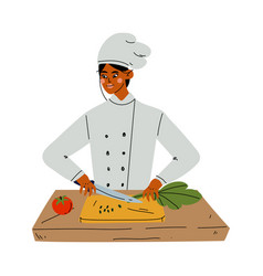 professional female chef cooking vegetables vector image
