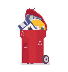 Red trash bin with old memory storages vector