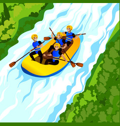 River rafting concept background cartoon style vector