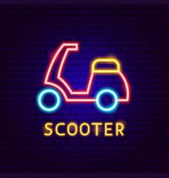 Scooter neon label vector
