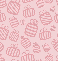 Seamless pink gift pattern vector