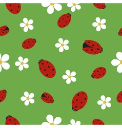 Seamless texture with ladybugs vector image