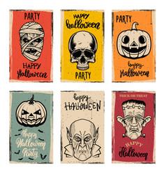 set flyer templates halloween party vector image
