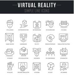 set line icons virtual reality vector image