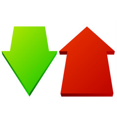 set of 3d up down arrows in perspective green red vector image