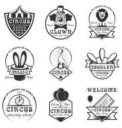 Set of circus isolated labels logo and vector