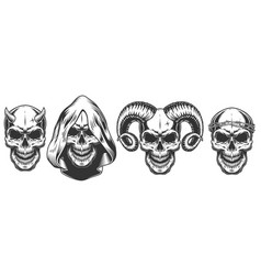 Set of demons skull with horns vector