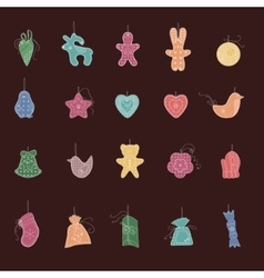 Set of different Christmas decorations Simple vector image