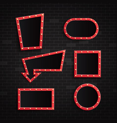 set retro red blank frames vector image