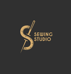 sewing studio logo vector image