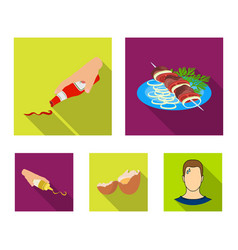 Shish kebab with vegetables ketchup and mustard vector